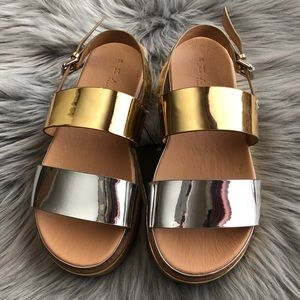 Zara Flatform Metallic Sandals